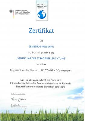 Vorschaubild zur Meldung: Sanierung der Straßenbeleuchtung mittels LED-Technik in der Gemeinde Wiesenau Förderkennzeichen 03K04584