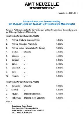 Informationen zum Seniorenausflug