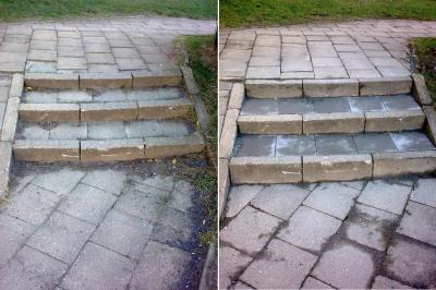 Die Treppe im Rügener Ring vor (li.) und nach der Instandsetzung. (Foto: Stadt Sassnitz)