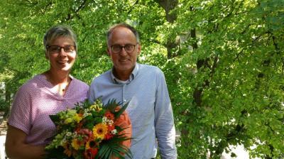 Bürgermeisterin Ulrike Drossel und Christian Grimm