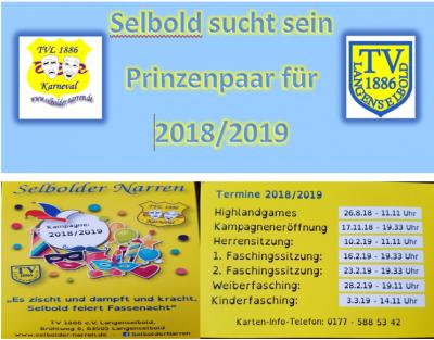 Vorschaubild zur Meldung: Kampagneneröffnung am 17.11.2018 / Prinzenpaar gesucht!