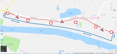 Hessen Mobil informiert über die Arbeiten ab dem 08.10.2018 an Geh-/Radwegen an der L 3268 Maintal/Bischofsheim - Maintal/Dörnigheim statt. Foto: Hessen Mobil