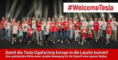 #WelcomeTesla - eine Aktion aus der Lausitz. Foto: PR