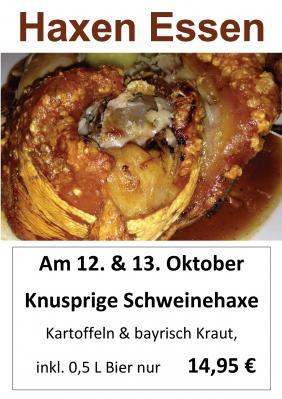 Vorschaubild zur Meldung: Haxenessen am 12. & 13. Oktober