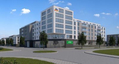 Unser Bild zeigt die Perspektive vom Kreisverkehr (Quelle: Präsentationsvorlage S&G Development GmbH)