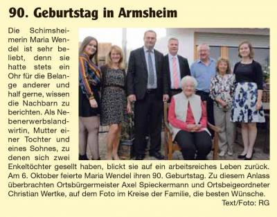Foto zur Meldung: 90. Geburtstag in Armsheim