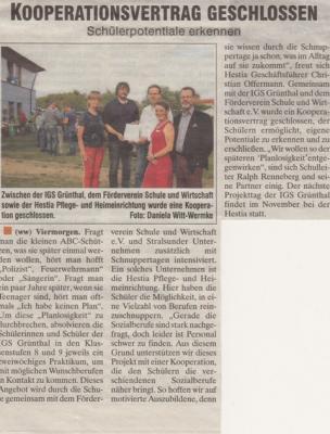 Foto zur Meldung: Kooperationsvertrag zwischen Hestia und IGS geschlossen