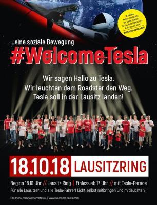Foto zur Meldung: #WelcomeTesla am 18.10.18 auf dem Lausitzring / Lausitzer Strukturwandel einmal von unten gedacht