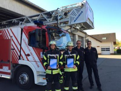 Vorschaubild zur Meldung: Neue Drehleitermaschinisten bei der Feuerwehr Meckesheim