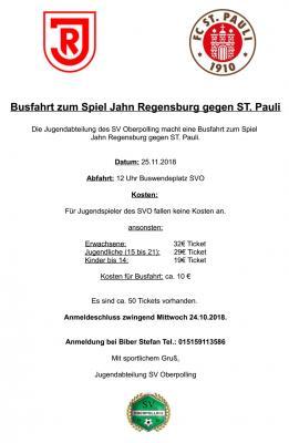 Foto zur Meldung: Busfahrt zum Spiel Jahn Regensburg gegen St.Pauli.