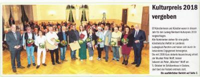 Foto zur Meldung: Kulturpreis 2018 -Ehrenurkunde