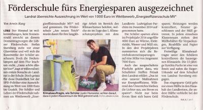 Foto zur Meldung: Förderschule fürs Energiesparen ausgezeichnet