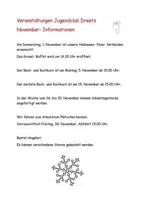 Vorschaubild zur Meldung: Veranstaltungen im Jugendclub in Dreetz im November