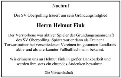 Foto zur Meldung: Der SV Oberpolling trauert um sein Gründungsmitglied Helmut Fink