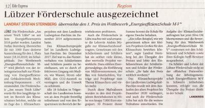 Foto zur Meldung: Lübzer Förderschule ausgezeichnet