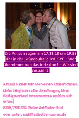 Foto zur Meldung: Der Countdown läuft! 17.11.2018 Kampagneneröffnung Abteilung Karneval / Kinderprinz gesucht!