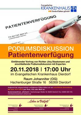 """Vorschaubild zur Meldung: Podiumsdiskussion """"Patientenverfügung"""" im Ev. Krankenhaus Dierdorf"""