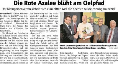 """Vorschaubild zur Meldung: Zum 11. Male Sieger im Wettbewerb """"Rote Azalee"""""""