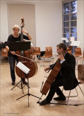 Der Kontrabass wurde von Erdmuthe Schulze im Duo mit Ruprecht Bassarak (Violoncello) vorgestellt. Foto: Gerlind Bensler