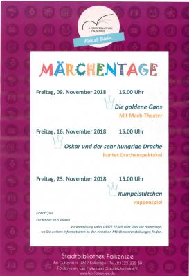 """Foto zur Meldung: 29. Berliner Märchentage zu Gast in Brandenburg - """"Der goldene Faden des Schicksals"""" - Märchen und Geschichten von Macht und Ohnmacht"""