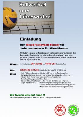 Vorschaubild zur Meldung: Einladung zum Volleyball Mixed Turnier