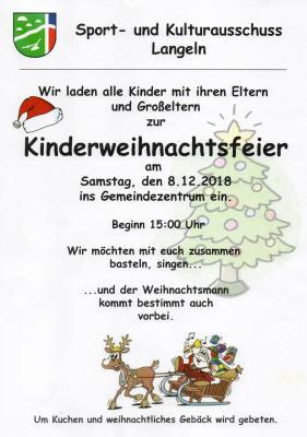 Vorschaubild zur Meldung: Kinderweihnachtsfeier in Langeln