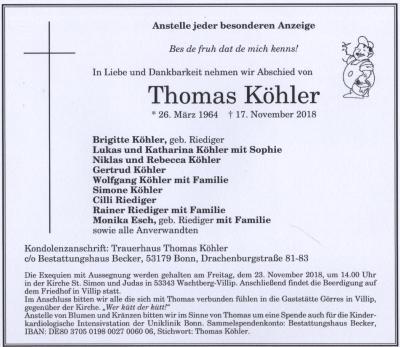 Traueranzeige Thomas Köhler