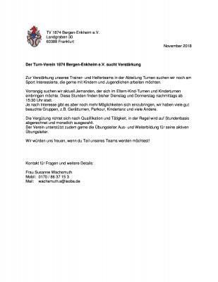 Vorschaubild zur Meldung: Der Turn-Verein 1874 Bergen-Enkheim e.V. sucht Verstärkung!