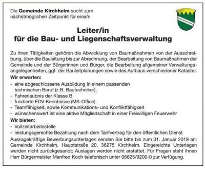 Vorschaubild zur Meldung: Stellenausschreibung der Gemeinde Kirchheim