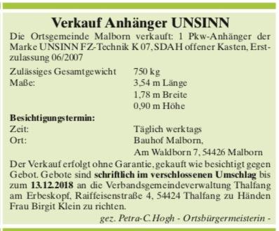Vorschaubild zur Meldung: Verkauf Anhänger UNSINN