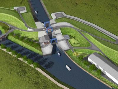 Foto zur Meldung: Neubau der Kanalschleuse Otterndorf an der Unterelbe Kanuten auf dem Weg von der Weser zur Elbe müssen vorläufig umtragen
