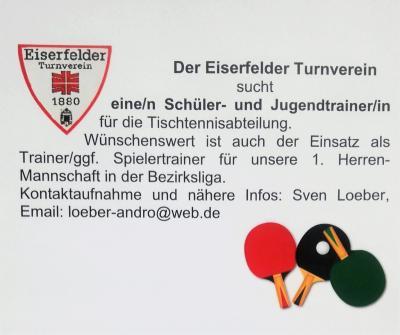 Vorschaubild zur Meldung: Schüler- und Jugendtrainer für Tischtennis gesucht!