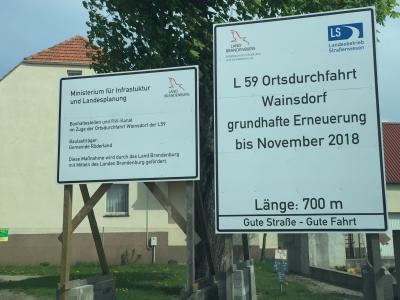 Vorschaubild zur Meldung: Ortsdurchfahrt Wainsdorf ab 18.12.2018 wieder offen