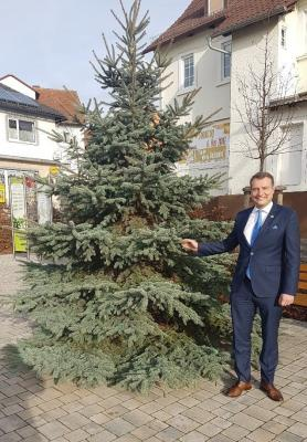 Spende eines Weihnachtsbaumes für die Gemeinde