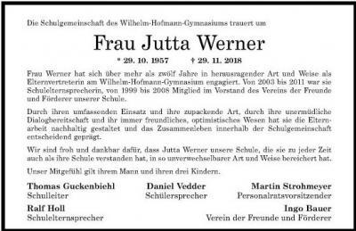 Nachruf Jutta Werner