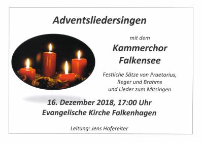 Vorschaubild zur Meldung: Adventsliedersingen mit dem Kammerchor Falkensee