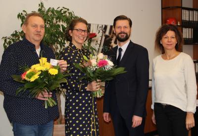 v.l.n.r. Michael Haude, Katharina Leicht, Bürgermeister Matthias Rudolph, Koordinatorin der SPIKO Kati Fiege