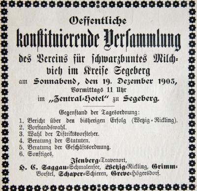 Foto zu Meldung: Vor 115 Jahren - Schmalenseer gründet Kreisverein der Schwarzbuntzüchter