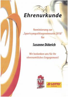 Foto zur Meldung: Ehrenurkunde Sportsympathiegewinnerin 2018