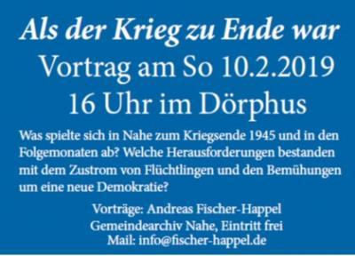Vorschaubild zur Meldung: 10.02.19/16 Uhr: Als der Krieg zu Ende war - Vortrag mit unserem Archivar Hr. Andreas Fischer-Happel