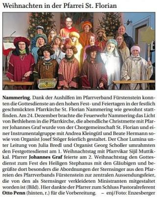 Vorschaubild zur Meldung: Weihnachten in der Pfarrei St. Florian