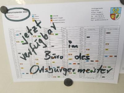 Vorschaubild zur Meldung: Müllabfuhrkalender 2020