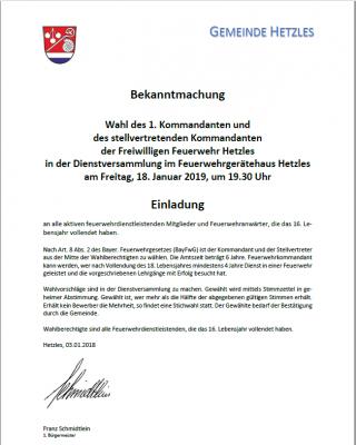 Vorschaubild zur Meldung: Neuwahl des 1. und 2. Kommandanten der Feuerwehr Hetzles