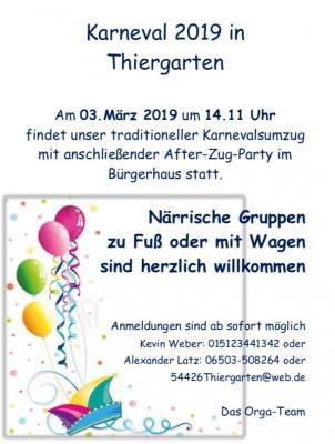 Vorschaubild zur Meldung: Karneval in Thiergarten