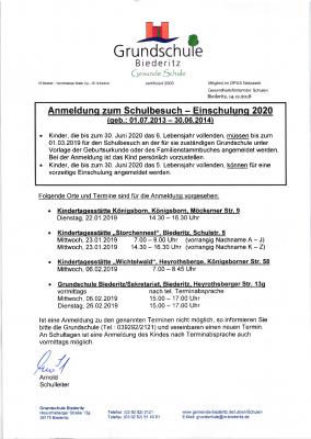 Vorschaubild zur Meldung: Anmeldung zum Schulbesuch - Einschulung 2020