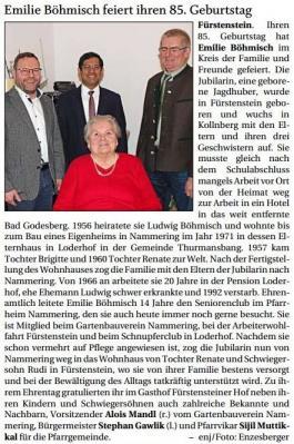 Vorschaubild zur Meldung: Emilie Böhmisch feiert ihren 85. Geburtstag