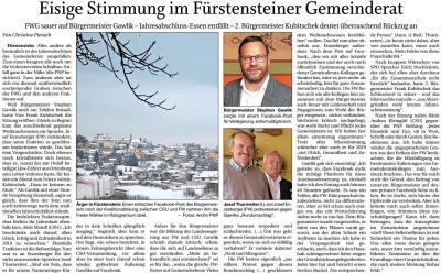 Vorschaubild zur Meldung: Eisige Stimmung im Fürstensteiner Gemeinderat