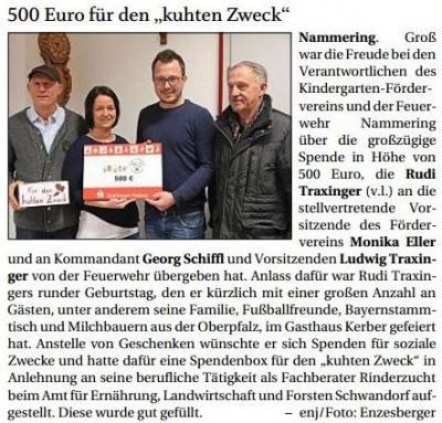 """Vorschaubild zur Meldung: 500 Euro für den """"kuhten Zweck"""""""