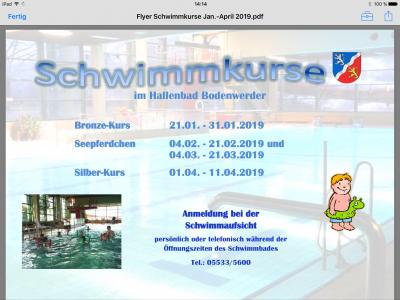 Vorschaubild zur Meldung: Termine der neuen Schwimmkurse