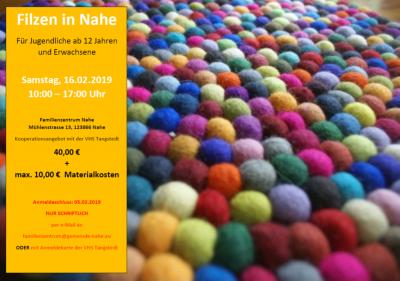 Vorschaubild zur Meldung: 16.02.19 :10-17 Uhr: Filzen im Familienzentrum Nahe (Anmeldeschluß am 5.2.2019/17 Uhr)